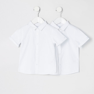 River Island Mini boys white short sleeve shirt 2 pack