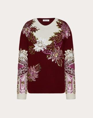 Valentino Embroidered Cashmere Wool Jumper Women Maroon Virgin Wool 70%, Cashmere 30% L