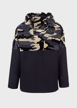 Emporio Armani Blouson With Hood And Camouflage Velvet Insert