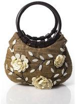 Moyna Light Brown Magnetic Popper Closure Beaded Floral Embellished Handbag