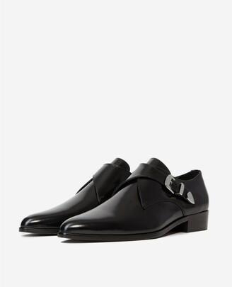 The Kooples Black leather derbies with Western buckle