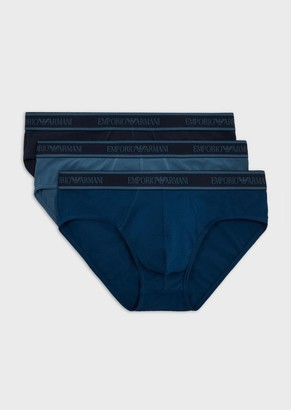 Emporio Armani Three-Pack Of Briefs With Logo Waistband