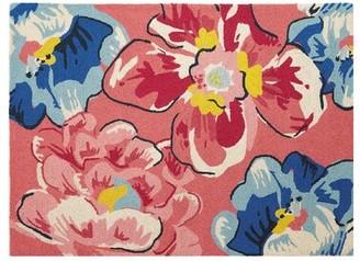 Vera Bradley Pretty Posies Hand-Hooked Wool Pink/Blue Area Rug