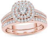 Zales 7/8 CT. T.W. Diamond Double Cushion Frame Multi-Row Vintage-Style Bridal Set in 14K Rose Gold
