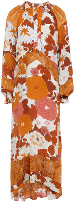Dodo Bar Or Renne Floral-print Silk Crepe De Chine And Crocheted Lace Midi Dress