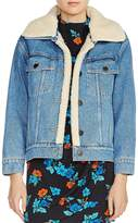 Maje Baxter Faux-Fur-Trimmed Denim Jacket