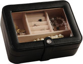 Mele Rio Faux-Leather Glass-Top Black Jewelry Box