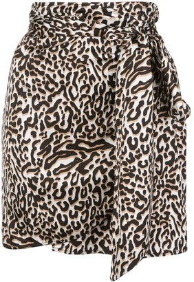 Andamane Draped Leopard-Print Mini Skirt