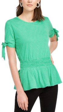 Maison Jules Peplum Tie-Sleeve Top, Created for Macy's