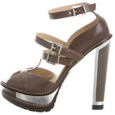 Brian Atwood Leather Ankle Strap Sandals