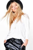Boohoo Lauren Oversized Slash Neck Slub T-Shirt