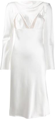 BEVZA Bianca sheer-insert satin dress