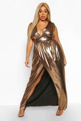 boohoo Plus Metallic Plunge Wrap Maxi Dress