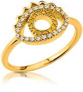 Kenzo Goldtone Mini Eye Ring w/Crystals