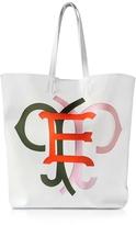 Emilio Pucci Large Multicolor Logo White Leather Tote Bag