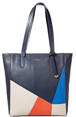 Radley London Haven Street Patchwork - Medium Zip Top Tote (Ink) Handbags