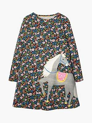 Boden Mini Girls' Floral Horse Appliqué Dress, Blue