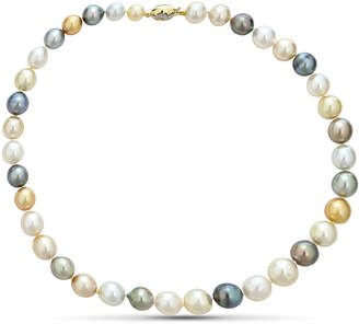 BELPEARL Classic 14k White Gold Multi Tahitian Pearl Necklace, 9-12mm