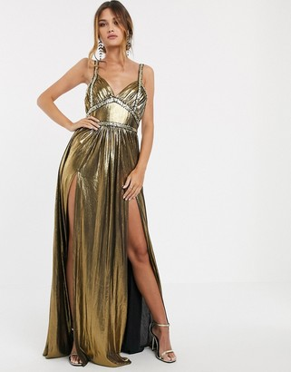 Bronx And Banco & Banco star metallic maxi dress-Gold