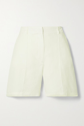 Anine Bing Mila Lyocell, Linen And Cotton-blend Shorts - Ivory