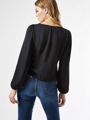 Dorothy Perkins Long Sleeve Button Through Top -Black
