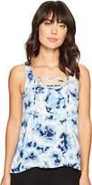 PJ Salvage Women's Blue Batik Tye Dye Tank