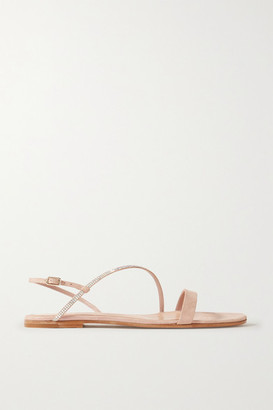 Gianvito Rossi Crystal-embellished Iridescent Suede Sandals - Baby pink