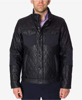 Perry Ellis Men's Black Quilted Faux Leather Jacket