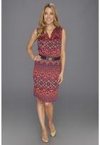Anne Klein Ikat Print V-Neck Dress (Navy Multi) - Apparel