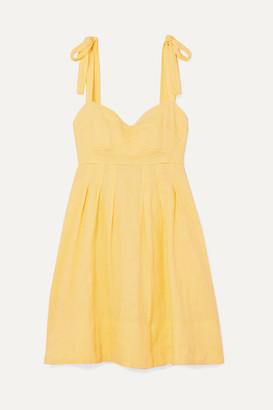 Honorine - Jill Pleated Linen Mini Dress - Yellow