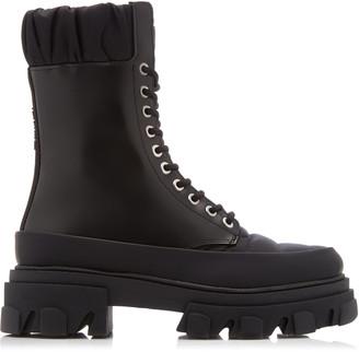 Ganni Women's Ruffled Leather Combat Boots - Black - Moda Operandi