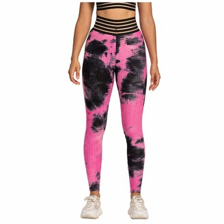 Sanahy Women's Tie-dye High Waisted Bubble Yoga Pants Hip Lifting Tummy Control Leggings Breathable Stretch Fitness Gym Workout Pants(Green S)
