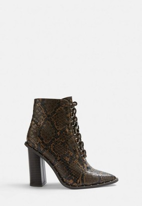 Missguided Brown Snake Print Studded Lace Up Boots