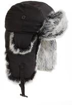 Crown Cap Men's Genuine Rabbit Fur Trapper Hat - Black