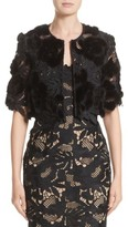 Lela Rose Women's Genuine Mink Embroidered Lace Bolero