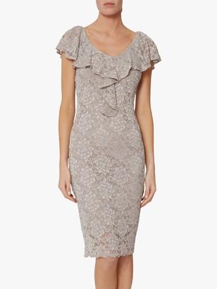 Gina Bacconi Starla Ruffle Lace Embroidered Dress