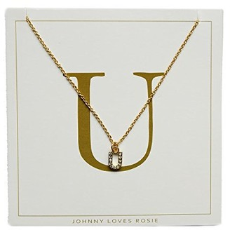 Johnny Loves Rosie Women Gold Plated Glass Chain Necklace of Length 48cm U Initial Gift Card