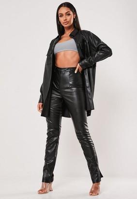 Missguided Black Co Ord Faux Leather Split Hem Pants