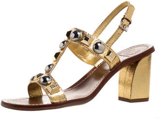 Tory Burch Gold Leather Studded T Strap Slingback Sandals Size 37.5