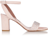 Tabitha Simmons Leticia Crystal-embellished Suede Sandals - Pastel pink