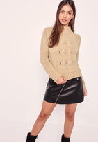 Missguided Camel High Neck Chunky Cable Cropped Sweater