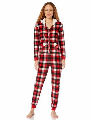 Mae Amazon Brand Women's Microfleece Hooded Onesie Pajama