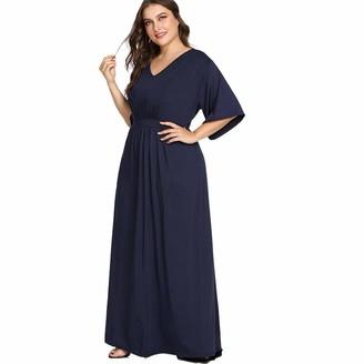 ilovgirl Maxi Dresses Women Plus Size Dress Short Sleeve Navy Blue High Waist Evening Party (5XL)