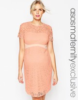 Asos Lace Body-Conscious Dress With Contrast Waistband
