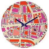Deny Designs Holli Zollinger Paris Map Pink Round Wall Clock