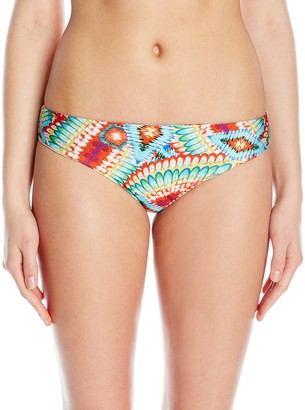 Luli Fama Women's Wild Heart Peek Hole Reversible Moderate Bikini Bottom