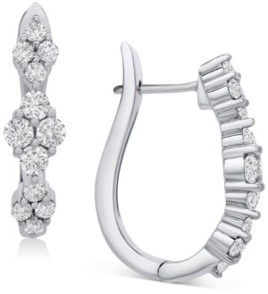 Wrapped in Love Diamond Cluster Huggie Hoop Earrings (1 ct. t.w.) in 14k White Gold, Created for Macy's