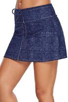Zesica Women's Bikini Bottoms Blue - Blue Faux-Denim Skirted Bikini Bottoms - Women & Plus