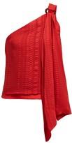 Zeus + Dione - Rhea Asymmetric Silk-blend Top - Womens - Red