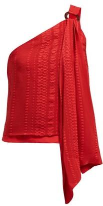 ZEUS + DIONE Rhea Asymmetric Silk-blend Top - Red